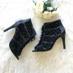 Gianni Bini | Black Lace Up Cut Out Heels